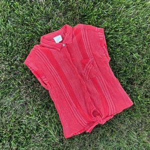 Anthro red pattern tie waist blouse md lg